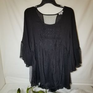 J Gee Black Boho Style Lace and Crochet Blouse L